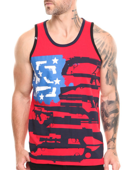 Buyers Picks - Men Red Guns, Stars & Stripes Tank Top