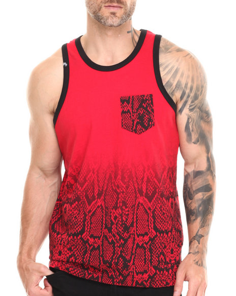 Buyers Picks - Men Red Animal Print Tank Top