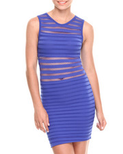 Women - Rated Fun Mesh Striped Sleevless Bodycon Dress
