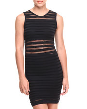 Fashion Lab - Rated Fun Mesh Striped Sleevless Bodycon Dress