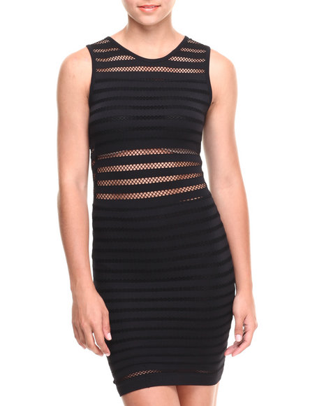 Fashion Lab - Women Black Rated Fun Mesh Striped Sleevless Bodycon Dress