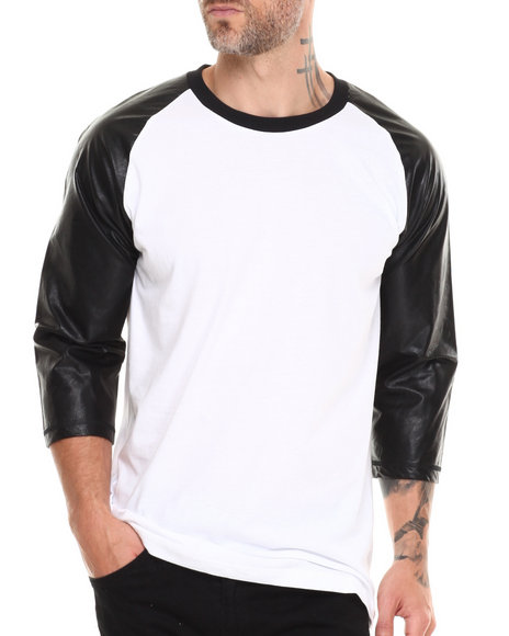 Buyers Picks - Men Black Raglan 3/4 Sleeve Pu Tee