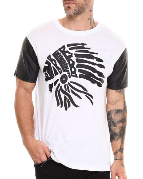 Buyers Picks - Men Black Perforated Faux Leather Sleeve Chiefs Head Tee