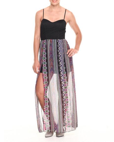 Paperdoll Black,Purple Crochet Top Peacock Print Carwash Chiffon Maxi Dress