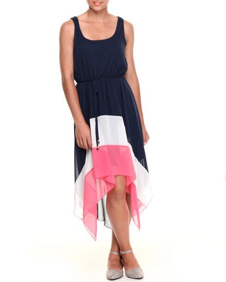 Paperdoll Navy Colorblock Hi-Low Hem Chiffon Dress
