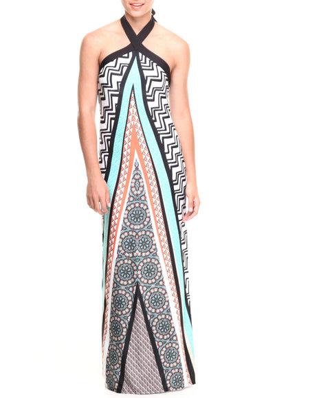 Paperdoll Black,Teal Chevron Tribal Halter Maxi Dress