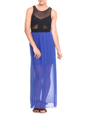 Paperdoll - Sheer Illusion Side Slits Chiffon Dress