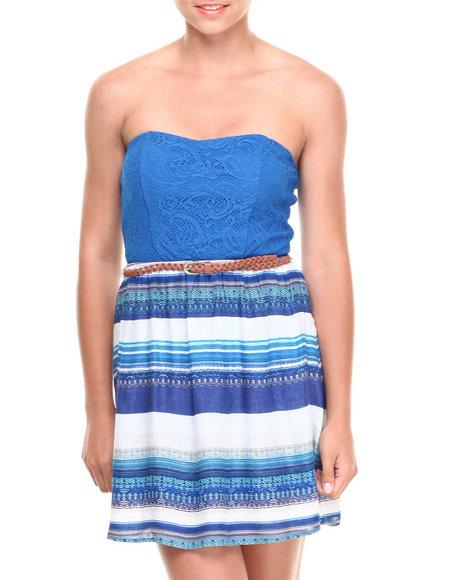 Paperdoll Blue,Ivory Crochet Tube Open Bow Back Dress