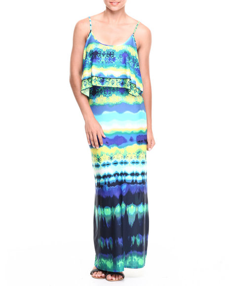 Paperdoll Blue Pop Over Tie Dye Print Maxi