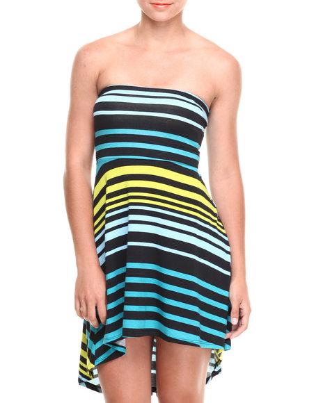 Paperdoll Blue Striped Jersey Knit Tube Hi-Low Hem Dress