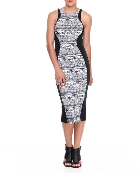 Fashion Lab Black,White Print Dress