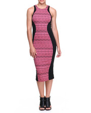 Women - Backstage Aztec Mid-Length Bodycon Dress w/ Exposed Back Zipper