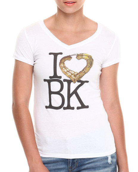 Rocawear - Women White I Love Bk Vneck Tee