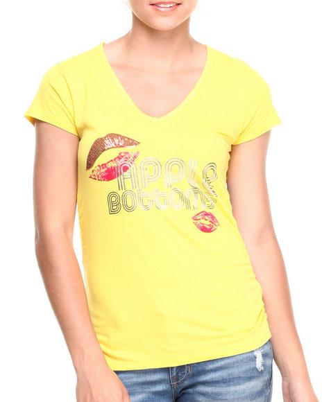 Apple Bottoms - Women Yellow Lips Logo V-Neck Tee