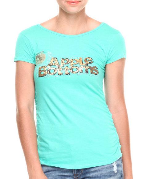 Apple Bottoms - Women Green Bling Cheetah Logo Scoop Neck Tee - $8.99