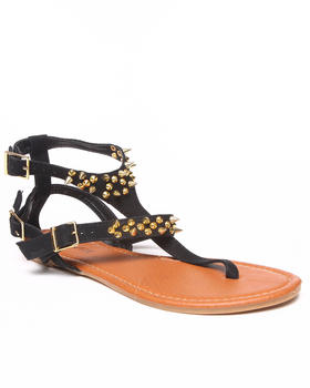 Fashion Lab - Jacky Double Strap Flat Sandal w/Gold Detail
