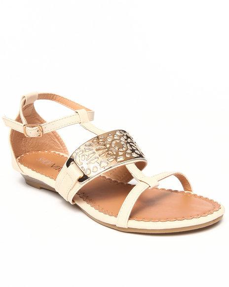 Fashion Lab - Women Off White Cat Flat Sandal W/Gold Detail
