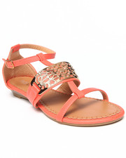 Fashion Lab - Cat Flat Sandal w/Gold Detail