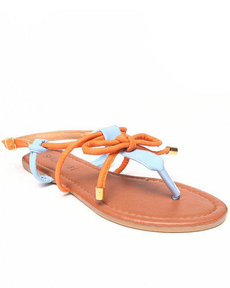 Fashion Lab - Women Light Blue,Orange Grace Contrast Flat Sandal W/Bow