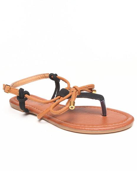 Fashion Lab - Women Black,Tan Grace Contrast Flat Sandal W/Bow