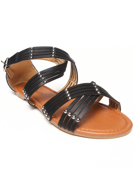 Fashion Lab - Women Black Gala Flat Criss-Cross Sandal