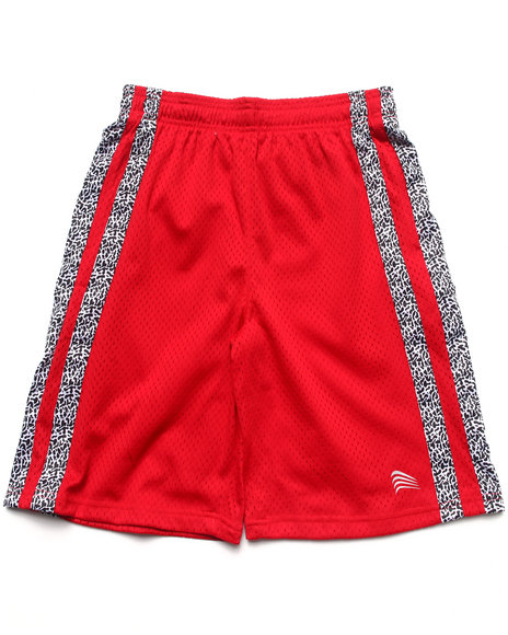 Arcade Styles - Boys Red Mesh Shorts W/ Dazzle Trim (8-20)