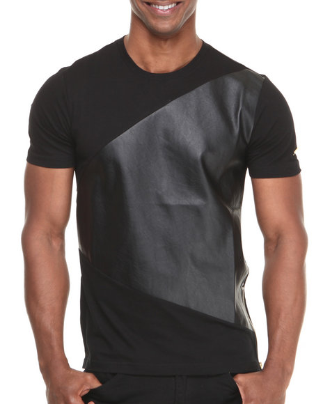 Akademiks Black Countach 74 Faux Leather Premium Tee