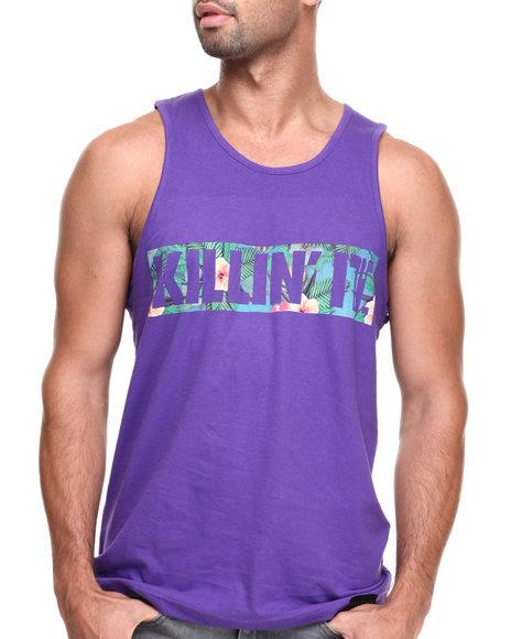 Filthy Dripped - Men Purple Killin It Floral Tank - $20.99