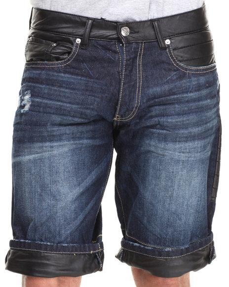 Winchester - Men Dark Wash Dakota Deniim Patch Detail Shorts