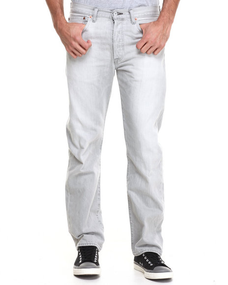 Levi's Light Grey 501 Straight Fit Silver Spine Jeans