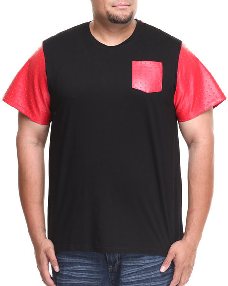 Akademiks - Men Black,Red Vault Short Sleeve Tee W/ Embossed Vegan Leather Trim (B&T)