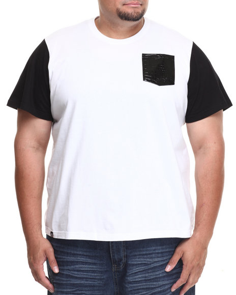Akademiks - Men White Avanti Colorblock Tee W/ Croc Vegan Leather Pocket (B&T)