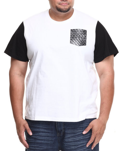 Akademiks - Men White Lark Colorblock Tee W/ Vegan Leather Star Print Pocket (B&T) - $5.99