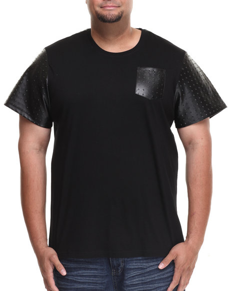 Akademiks - Men Black Vault Short Sleeve Tee W/ Embossed Vegan Leather Trim (B&T) - $22.99