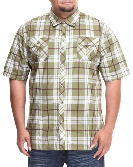 Basic Essentials - Men Olive Short Sleeve Plaid Woven Shirt (B&T)