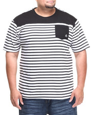 Men - Stingray Striped Crew Neck Tee w/ Solid Pocket (B&T)