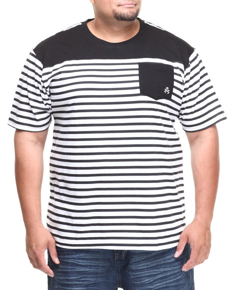 Akademiks - Men Black Stingray Striped Crew Neck Tee W/ Solid Pocket (B&T) - $14.99