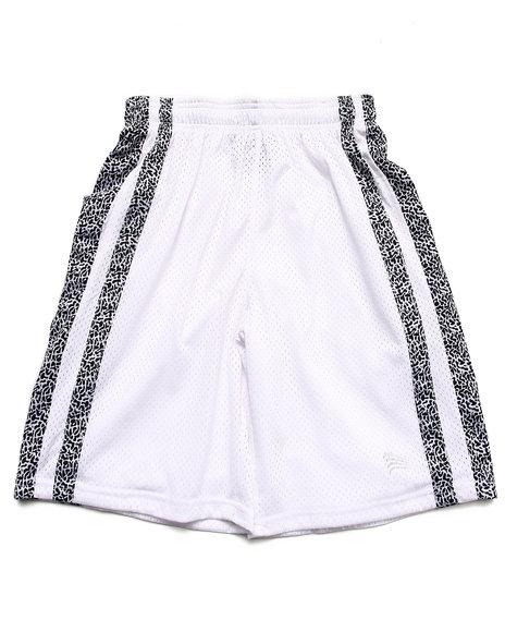 Arcade Styles Boys White Mesh Shorts W/ Dazzle Trim (8-20)