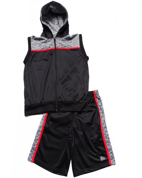 Arcade Styles - Boys Black Elephant Print Hooded Vest & Shorts (8-20)