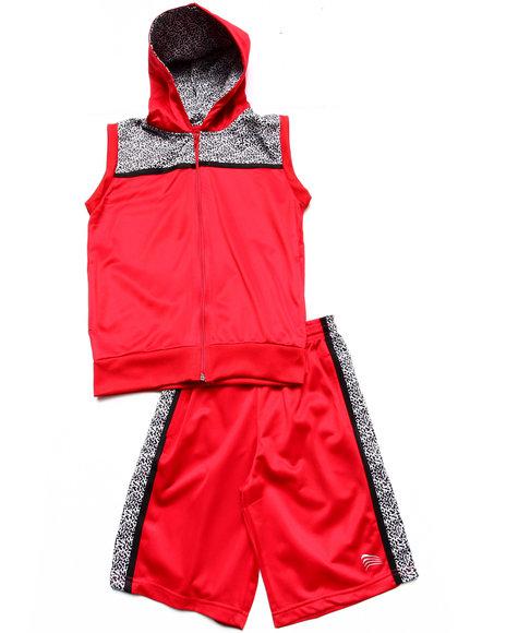 Arcade Styles Boys Red Elephant Print Hooded Vest & Shorts (8-20)