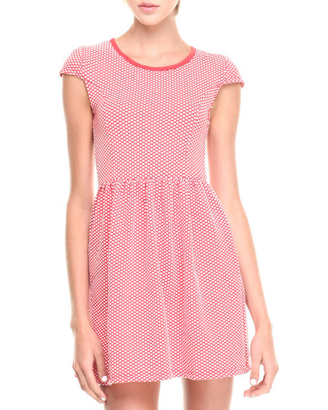 Fashion Lab - Women Coral Textured Short Sleeve Fit & Flare Dress