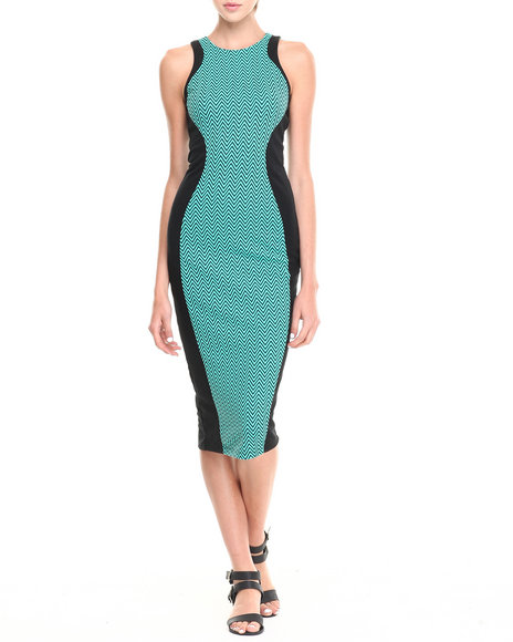 Fashion Lab - Women Black,Teal Chevron Print Mid-Length Bodycon Dress W/ Exposed Back Zipper