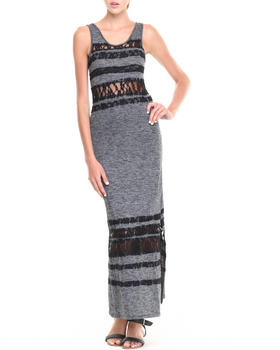 Fashion Lab - Heathered Scoop Back Maxi Dress w/ Lace Overlay Details