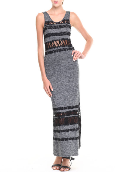 Fashion Lab - Women Black,Grey Heathered Scoop Back Maxi Dress W/ Lace Overlay Details