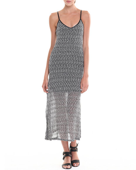 Fashion Lab - Women Black Jinx Jaquard Stripe Maxi Dress