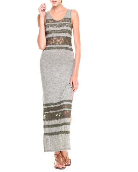 Fashion Lab - Women Grey,Olive Maranda Scoop Back Maxi Dress W/ Lace Overlay Details