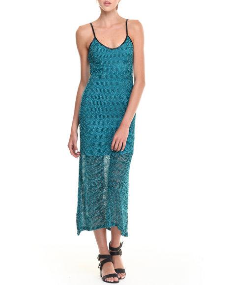 Fashion Lab - Women Blue Jinx Jaquard Stripe Maxi Dress