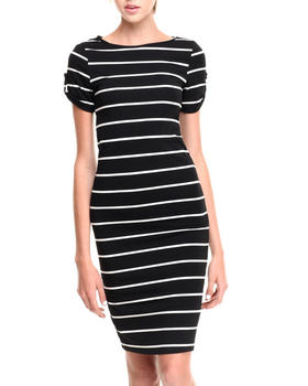Fashion Lab - 9TH Hole Striped Mid-Length Bodycon Dress w/ Rolled Sleeves