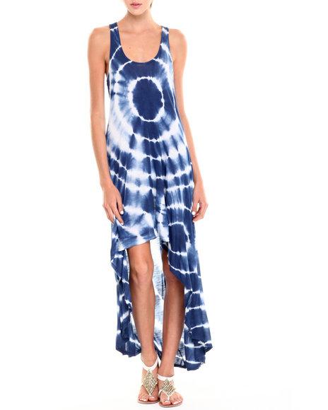 Fashion Lab - Women Blue,White Naomi Tie-Dye Hi-Lo Tank Dress