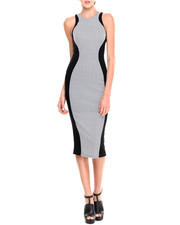 Women - Lana Chevron Print Mid-Length Bodycon Dress w/ Exposed Back Zipper